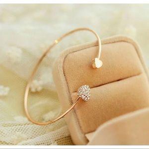 Gold And Crystal Rhinestone Heart Cuff Bracelet